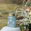"10"" White and Blue Iced Glittered Snowflake Decorative Pillar Candle Holder Lantern with Handle - 32256965"