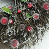 """10.25"""" Frosted Brown Twig Artificial Christmas Wreath with Leaves and Berries - Unlit - 32260945"""