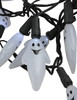 Set of 20 Pure White LED Ghost Halloween Lights - Black Wire - 30889325