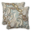 """Set of 2 Paisley Giardino Light Blue and Brown Outdoor Corded Square Throw Pillows 18.5"""" - 31351137"""