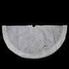 "48"" Silver and White Glittered Swirl Christmas Tree Skirt with Metallic Trim - 31451485"