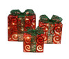 Set of 3 Sparkling Red Swirl Gift Boxes Lighted Christmas Yard Art Decorations - 30790392