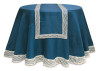 "Pack of 6 Opulent Teal & Ivory Christmas Table Runners with Crocheted Edges 70"" - 31353241"