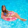 """36"""" Classic Transparent, Pink and White Polka Dot Inflatable Swimming Pool Inner Tube - 31537118"""