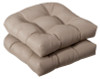 Pack of 2 Outdoor Patio Furniture Wicker Chair Seat Cushions - Cosmic Beige - 13988660