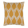 "22"" Falling Drops Mustard Yellow with Cloud Gray Decorative Throw Pillow - 32215140"