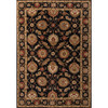 8'  Midnight Black, Spicy Red, and Taupe Callisto Classic Round Hand Tufted Wool Area Throw Rug - 31526300