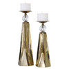 """Set of 2 Antique Bronze Ceramic and Crystal Decorative Candle Holders 18"""" - 21"""" - 31800946"""