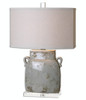 """25.25"""" Naples Textured Ceramic Ivory-Gray Table Lamp with Beige Linen Oval Shade - 31495216"""