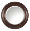 """42"""" Hand Finished Brown Recycled Leather Round Beveled Wall Mirror - 28266203"""