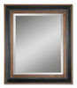 """42"""" Hand Rubbed Black and Antiqued Gold Rectangular Beveled Wall Mirror - 28266193"""