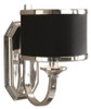 "12"" Silver Plated & Black Hardback Shade Vanity Wall Sconce - 28265959"