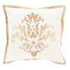 "18"" Dazzling Damask In Canvas Beige and Eggshell White Square Decorative Throw Pillow - 31394994"