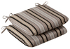 Pack of 2 Outdoor Patio Furniture Chair Seat Cushions Black & Tan Striped Voyage - 13373061