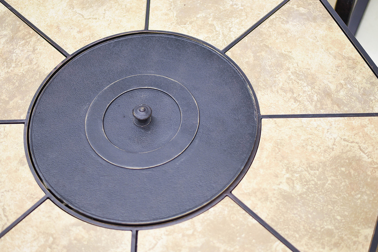 5Piece Harmony Cast Aluminum Patio Chair and Gas Fire Pit Outdoor