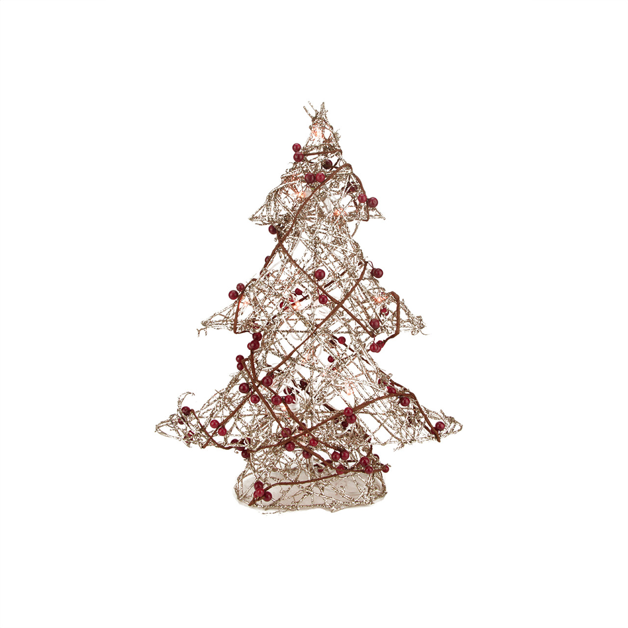 Pre Lit Christmas Tree Fuses: 19 Pre-Lit Champagne Gold Glittered Rattan Berry