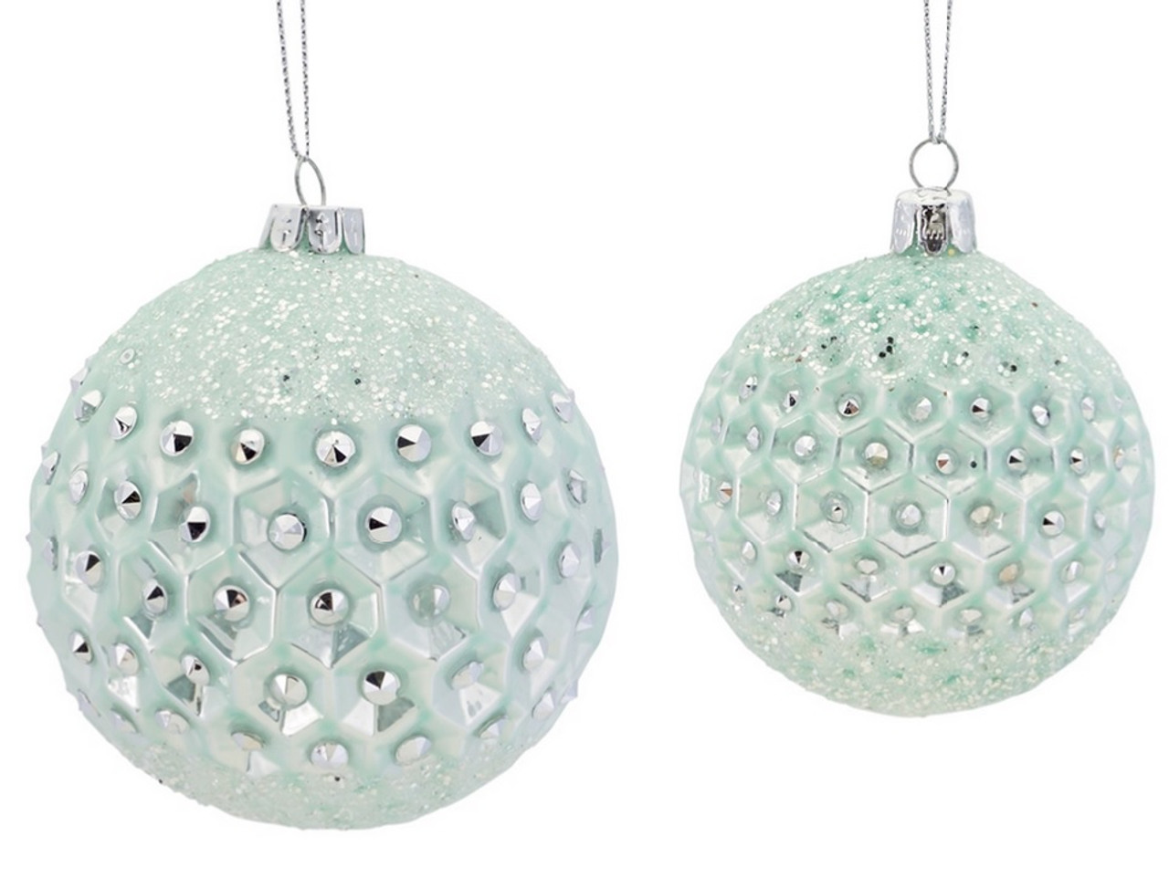 Set of 2 Silent Luxury Mint Green Frosted and Jeweled ...