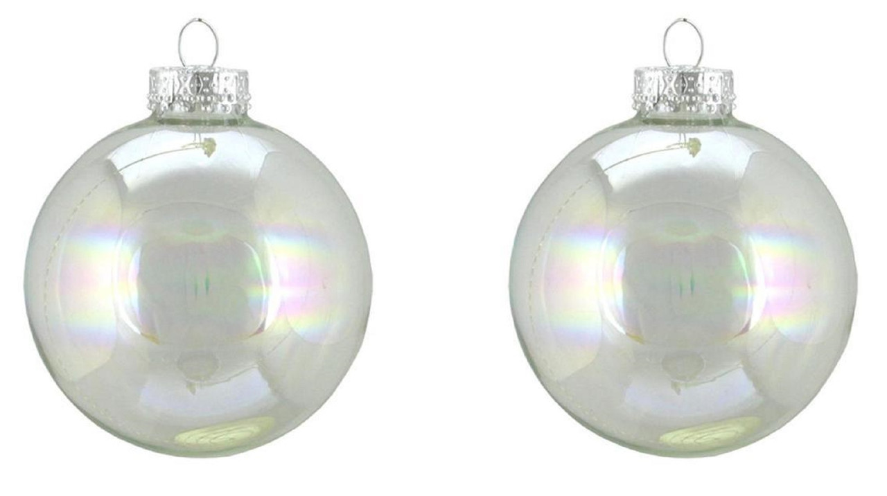 2ct Clear Iridescent Glass Ball Christmas Ornaments 4 (100mm ...