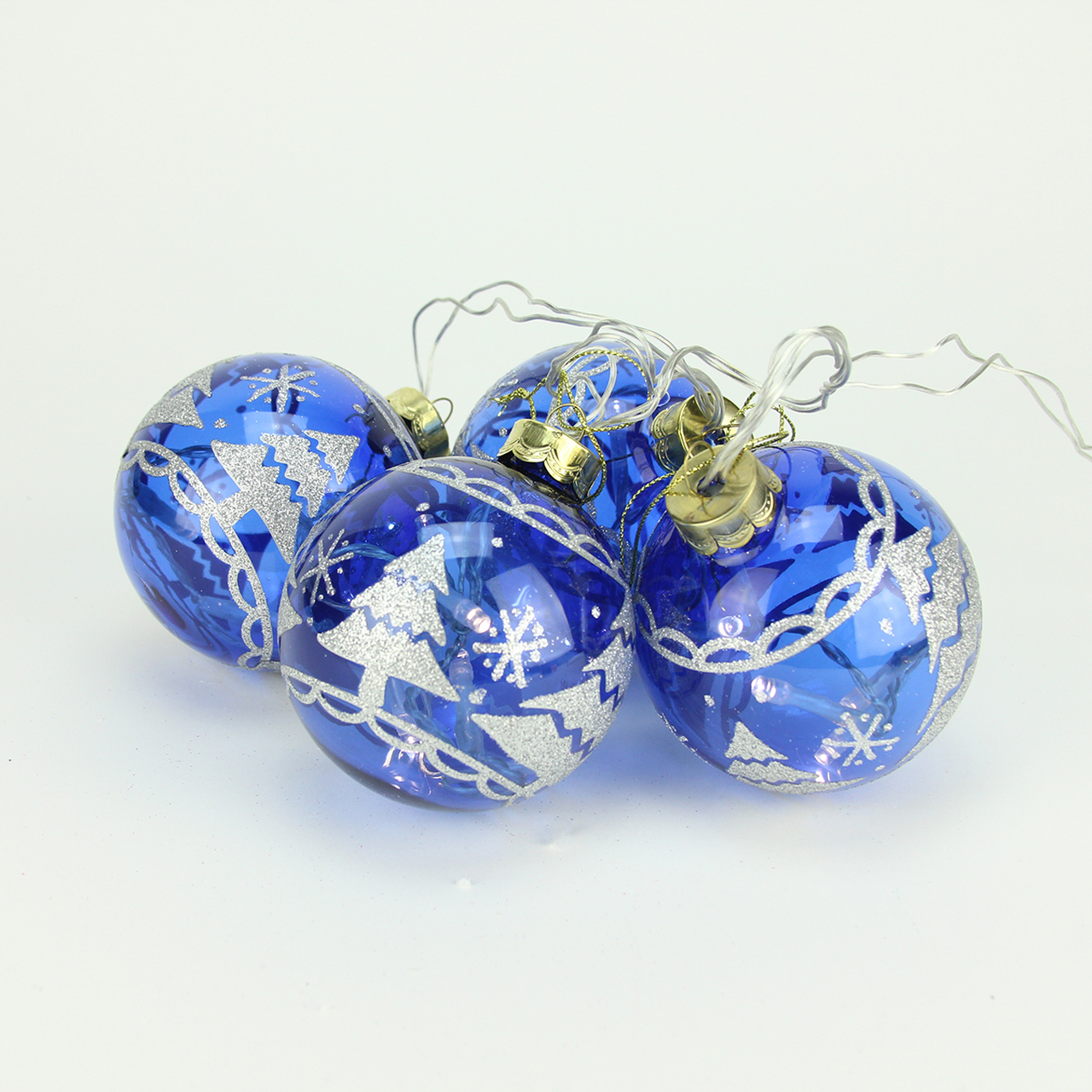 set of 4 battery operated blue glass ball led lighted christmas ornaments 31464199 - Lighted Christmas Ornaments