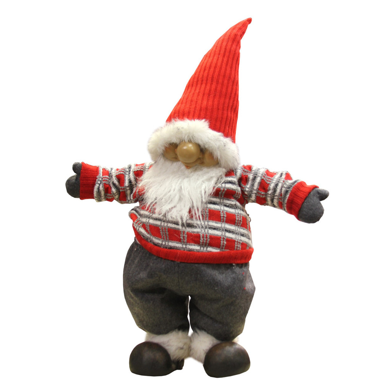 28 standing santa gnome with red and gray sweater for Gnome 3 decoration fenetre