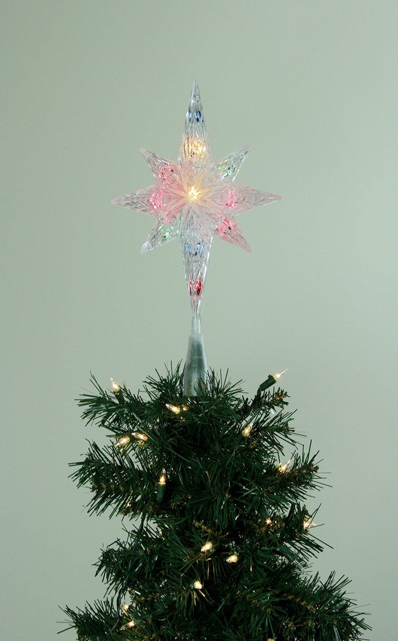11 lighted clear faceted bethlehem star christmas tree topper multi lights 31082236 - Christmas Tree Topper Star