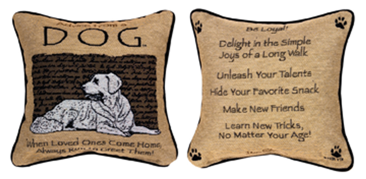 Throw Pillow Advice : Reversible Advice from a Dog Square Throw Pillow 12.5 x 12.5 ChristmasCentral
