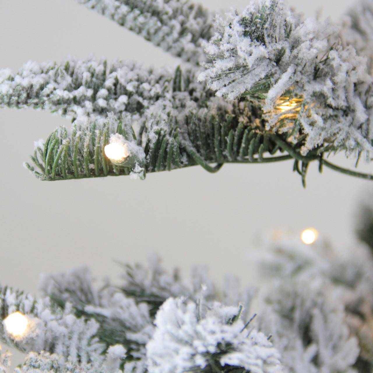7.5' Pre-Lit Noble Fir Flocked Artificial Christmas Tree - Warm ...