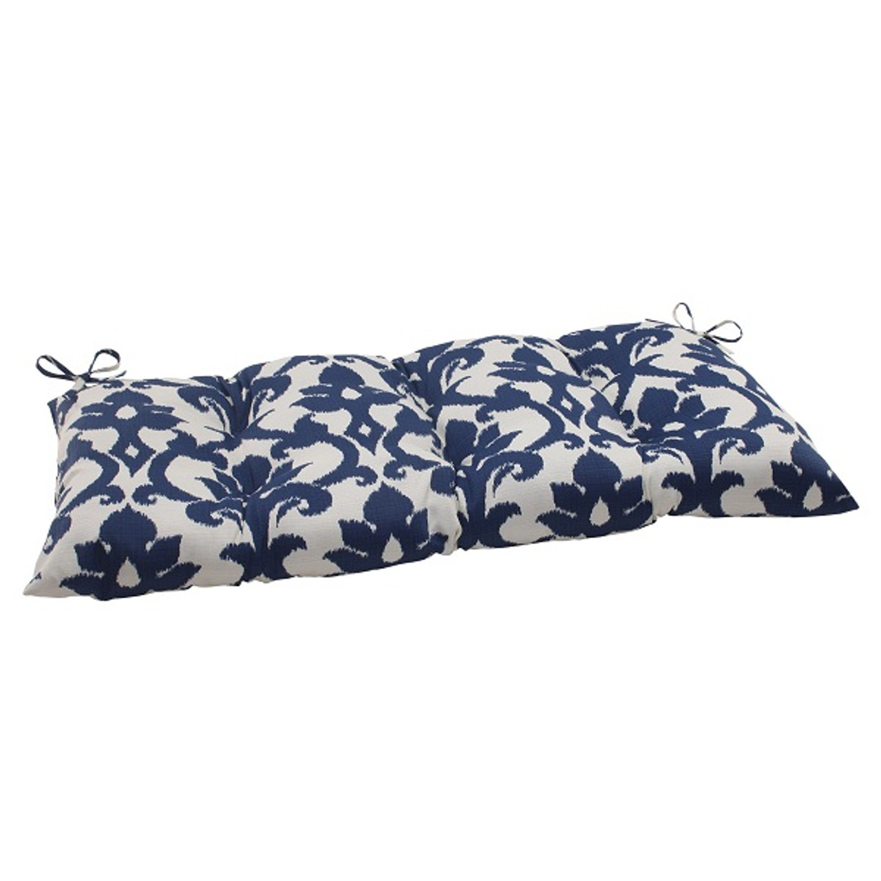 Victorian Outdoor Pillows : 44 Navy Blue and White Floral Victorian Outdoor Patio Tufted Loveseat Cushion ChristmasCentral
