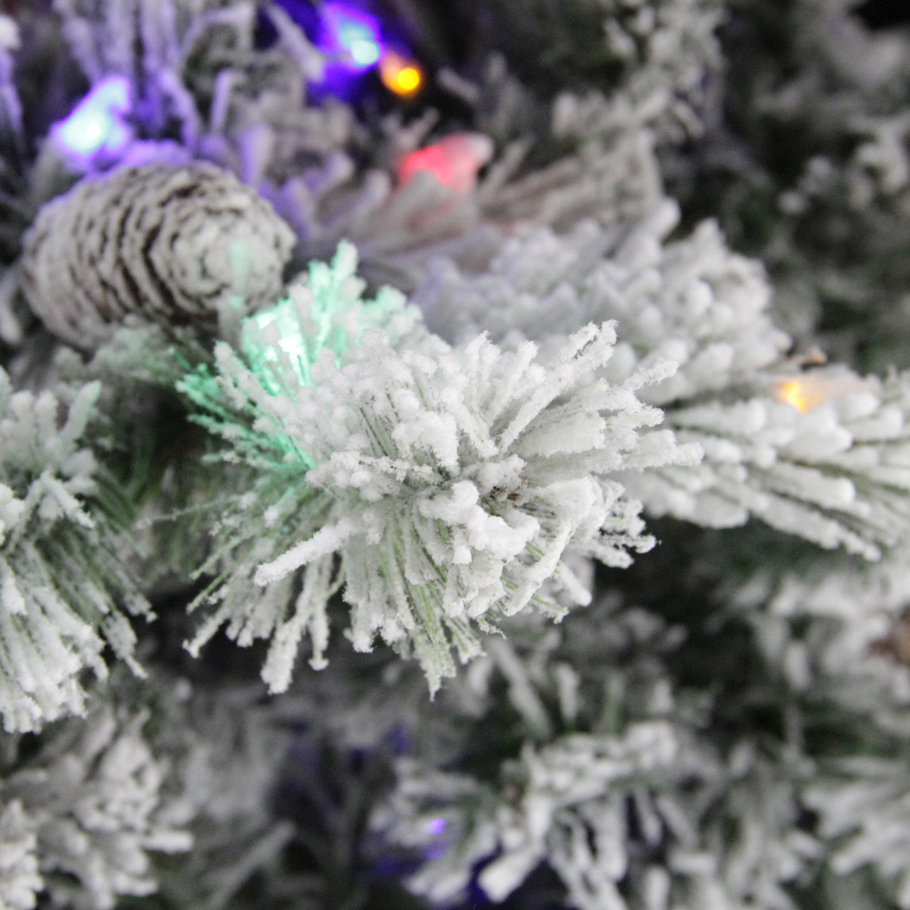 9 pre lit flocked victoria pine multi function led artificial christmas tree - Remote Control Christmas Tree