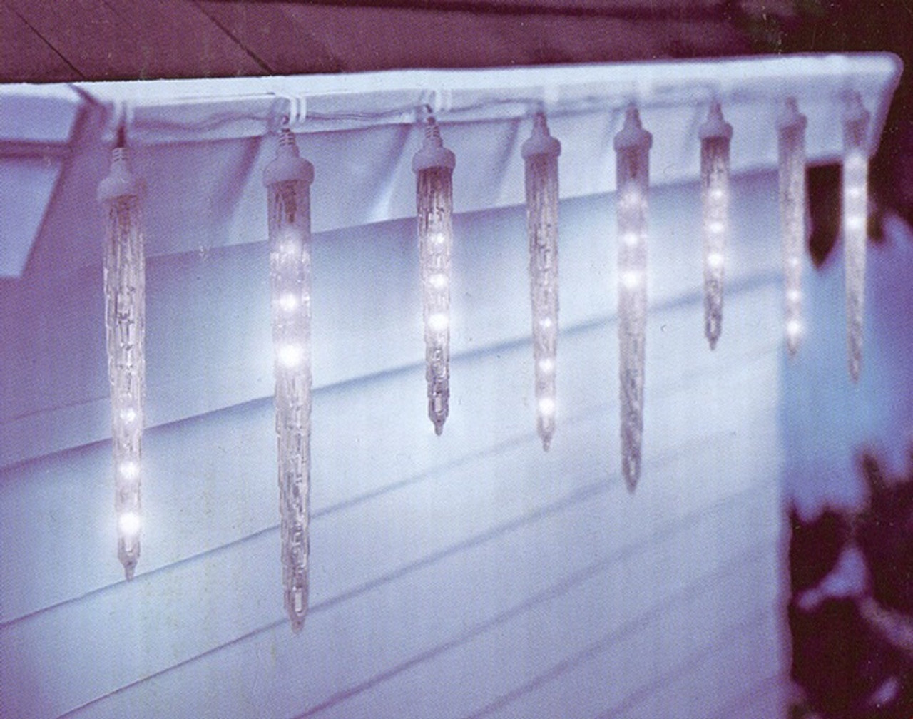 set of 10 clear led dripping icicle christmas lights white wire 30955616 - Dripping Icicle Christmas Lights