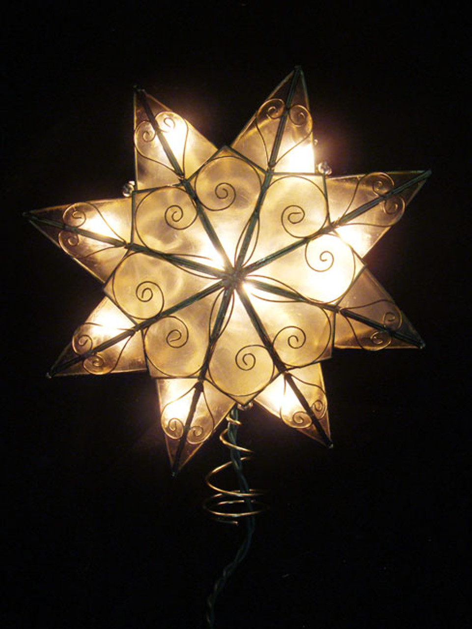 8 Lighted Capiz Shell 8-Point Gold Star Christmas Tree Topper ...