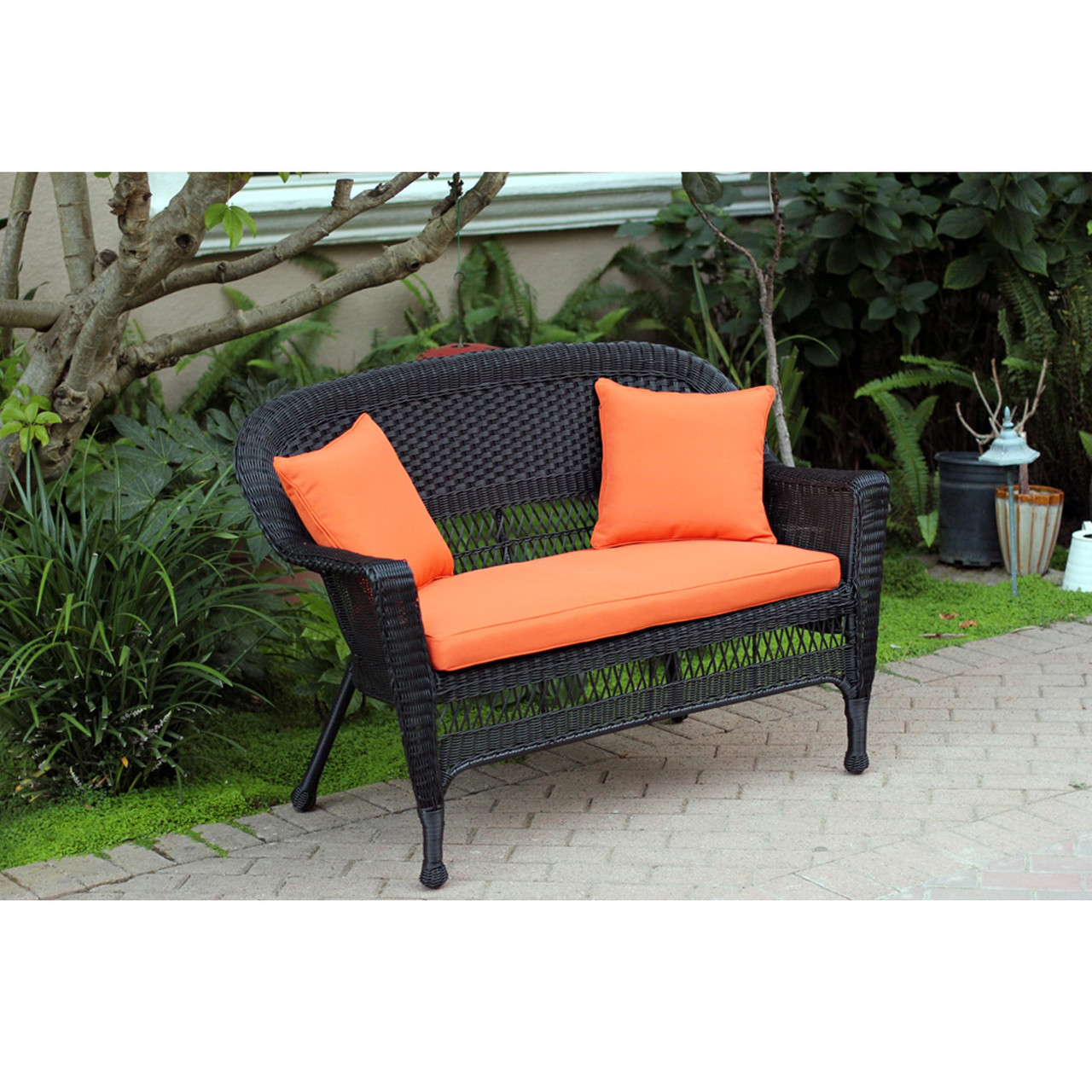 51 black resin wicker outdoor patio garden love seat orange cushion pillows
