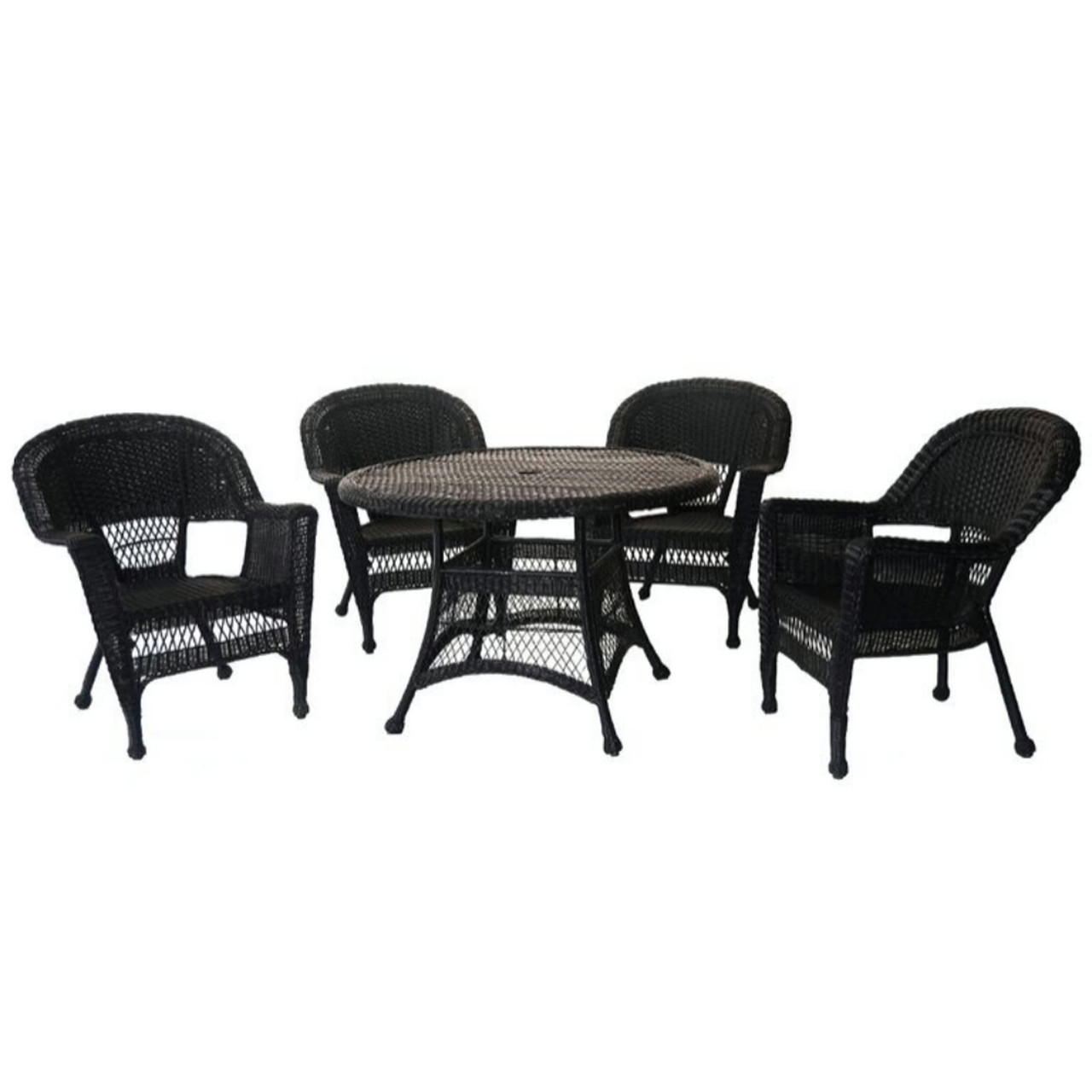 5 Piece Black Resin Wicker Chair And Table Patio Dining Furniture Set    31556373