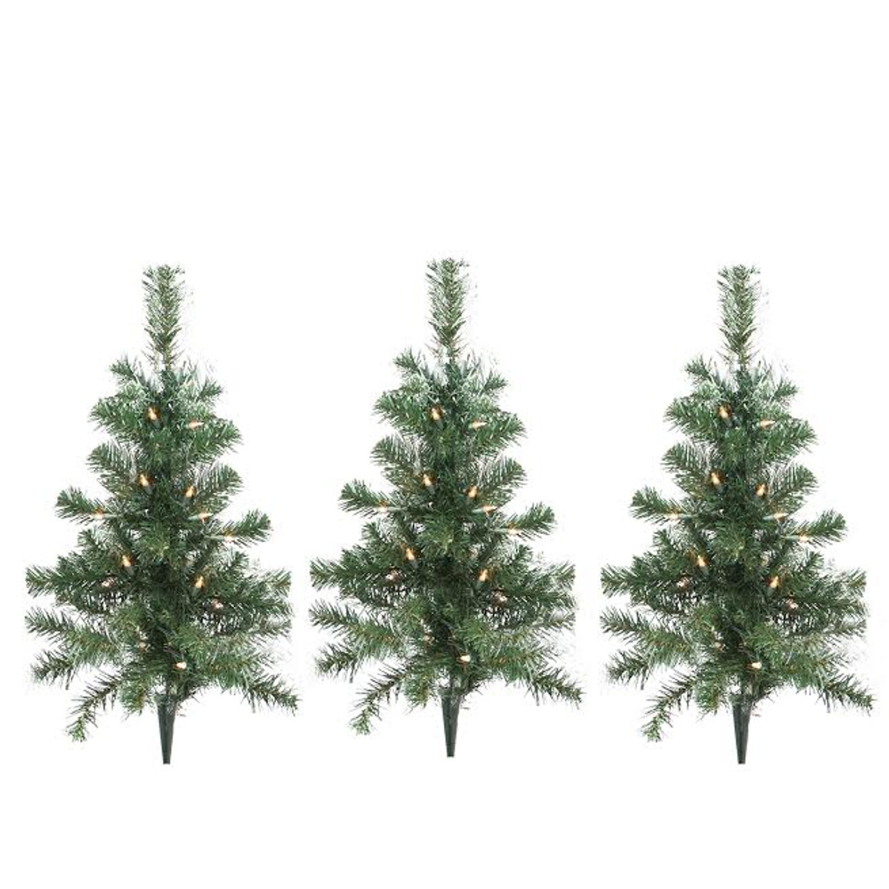 Pack Of 3 Lighted Christmas Tree Driveway Or Pathway