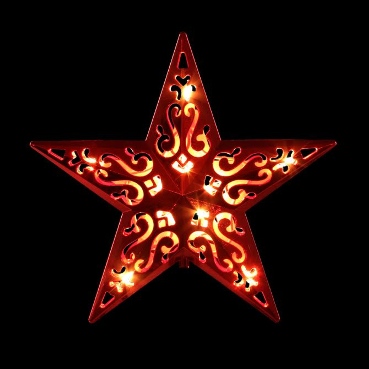Star For A Christmas Tree: 8 Lighted Red Cut-Out Design Decorative Star Christmas