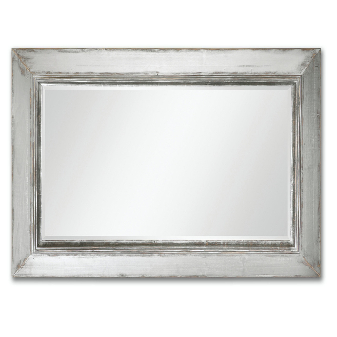 735 oversized beveled rectangular wall mirror with distressed 735 oversized beveled rectangular wall mirror with distressed aged silver frame 31334205 amipublicfo Gallery