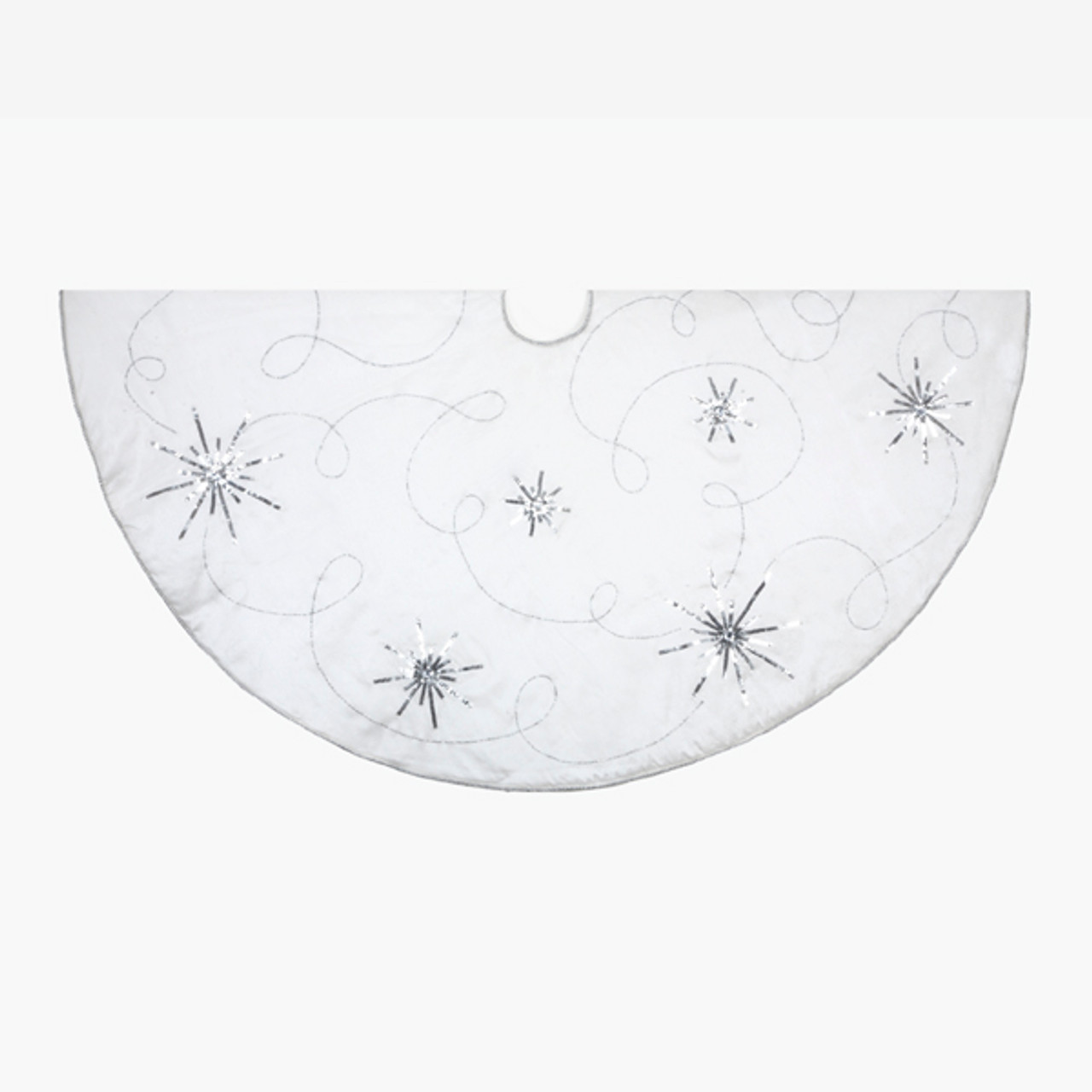 48 white and silver embroidered star sequin design christmas tree skirt 28358871 - Silver Christmas Tree Skirt