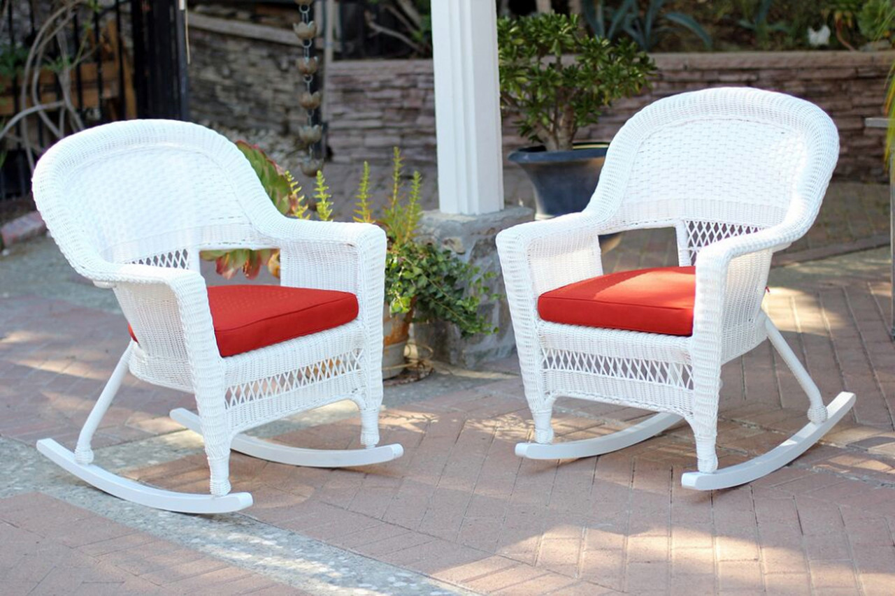 2 Piece Ariel White Resin Wicker Patio Rocker Chairs Furniture Set   Red  Cushions