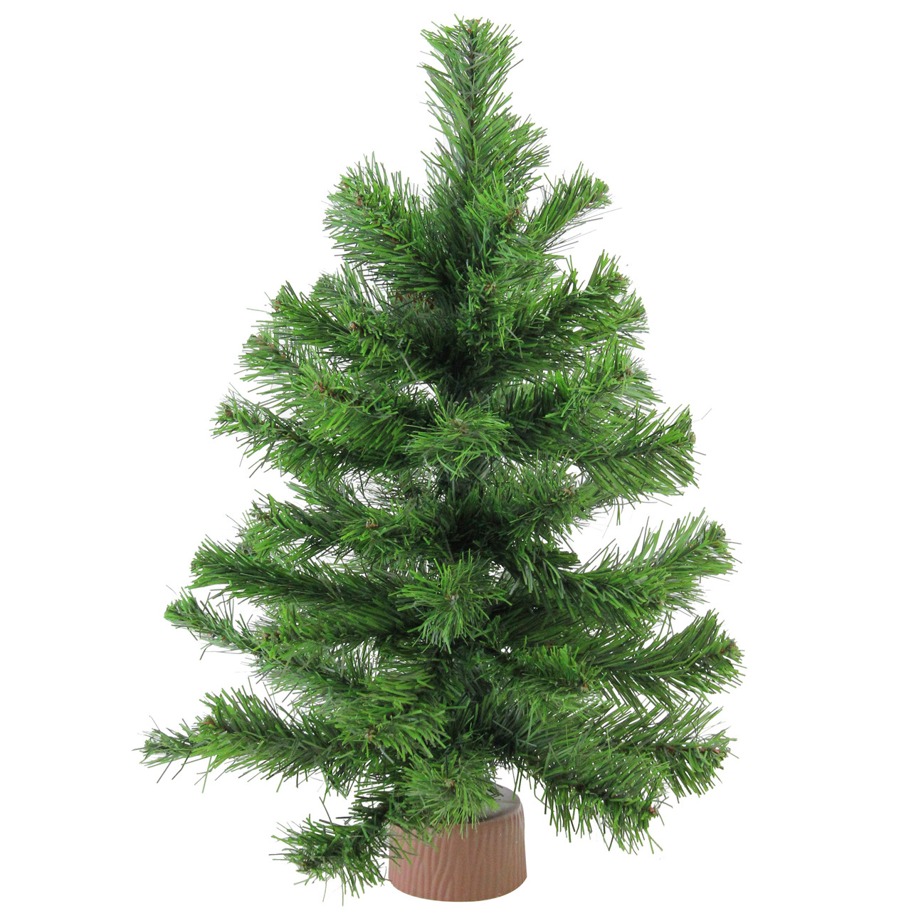 18 mini pine artificial christmas tree in faux wood base unlit 32614948 - Mini Artificial Christmas Trees