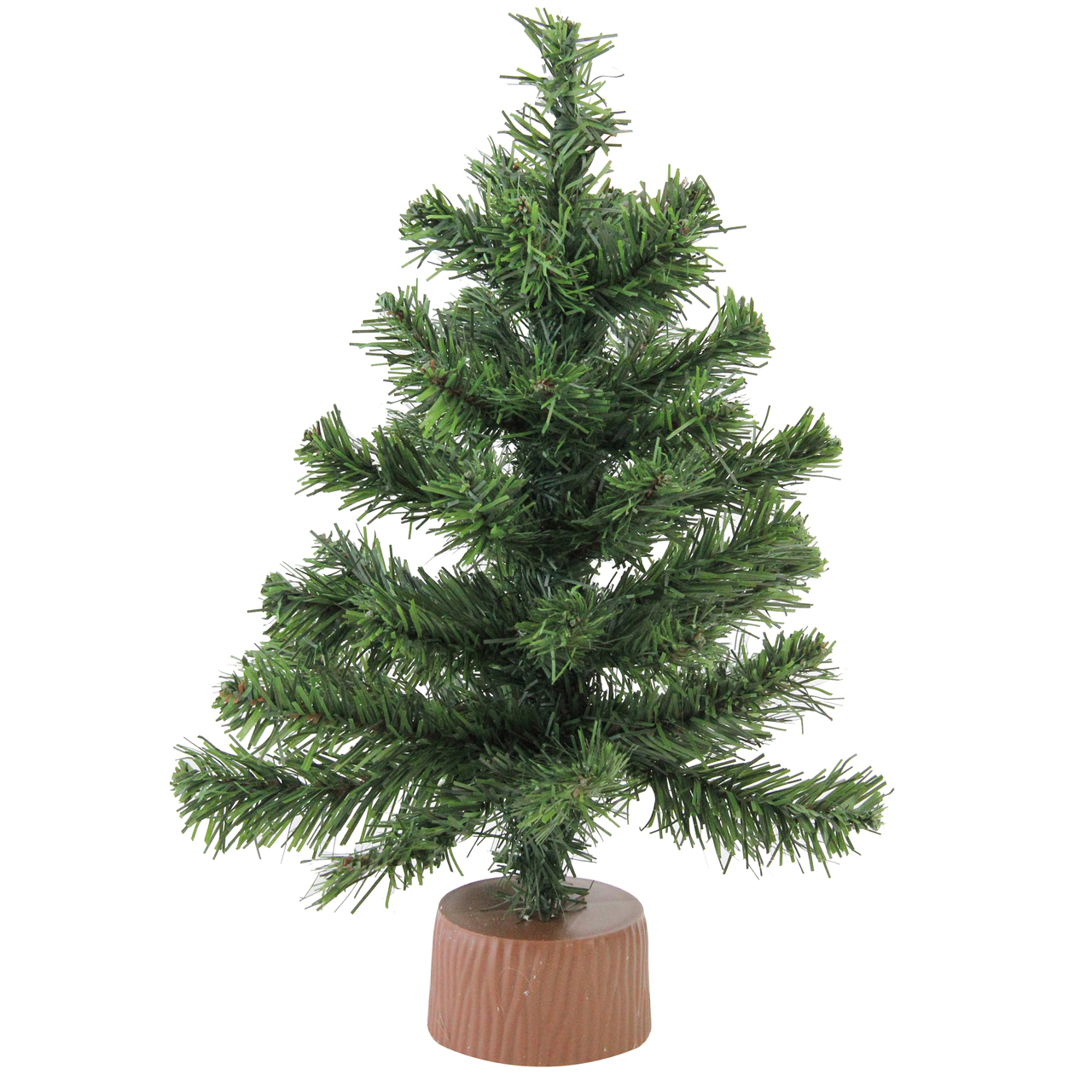 12 Mini Canadian Pine Artificial Christmas Tree In Faux Wood Base  - Artificial Mini Christmas Trees