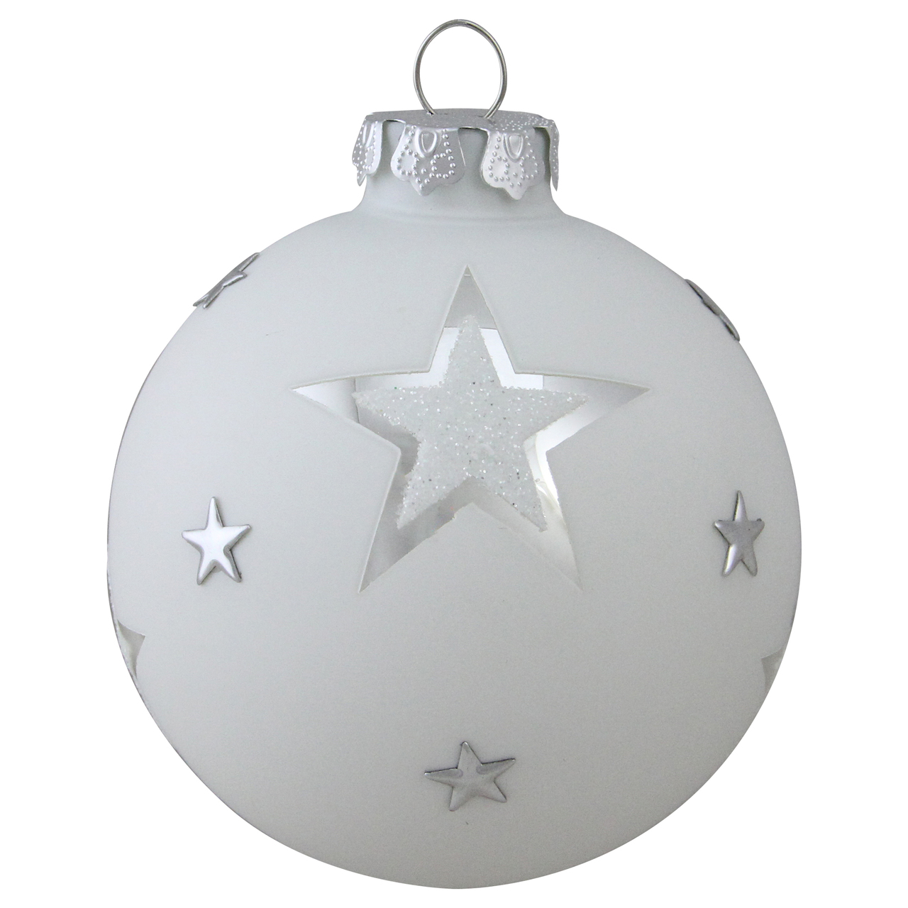325 Winters Beauty White and Silver Star Glass Ball Christmas