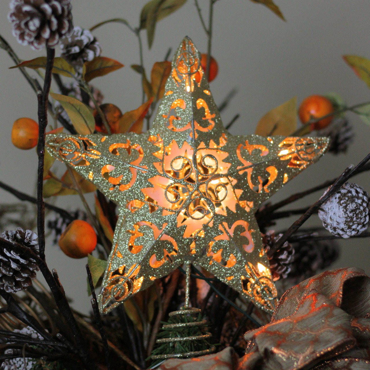 Star For A Christmas Tree: 11 Lighted Gold Swirl Christmas Star Tree Topper