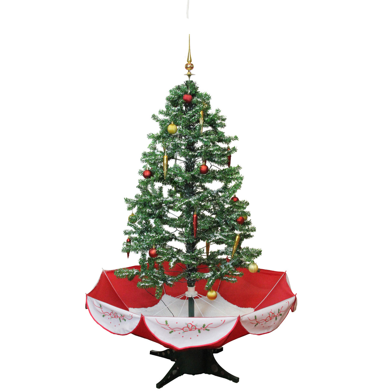 45 pre lit musical snowing artificial christmas tree with umbrella base blue led - Musical Christmas Tree Lights
