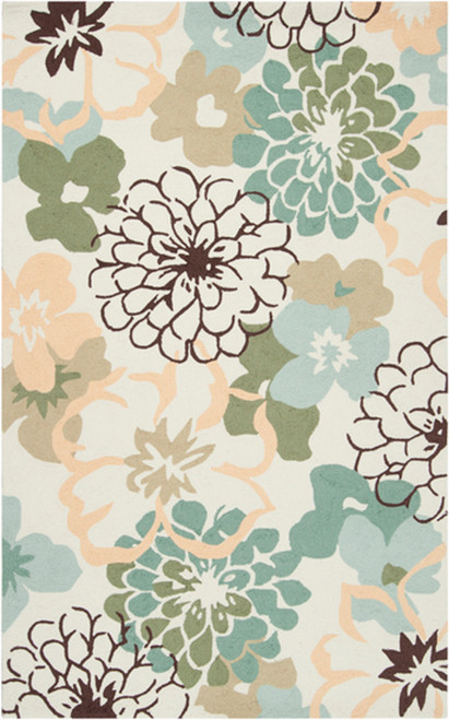 3 5 X 5 5 Pale Garden Creme Fern Green And Gold Hand