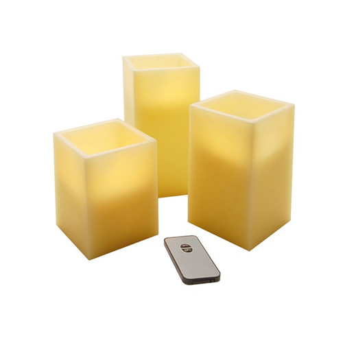 Set of 3 B/O Flameless Flickering Wax LED Pillar Candles w/ Remote Control - 31067903