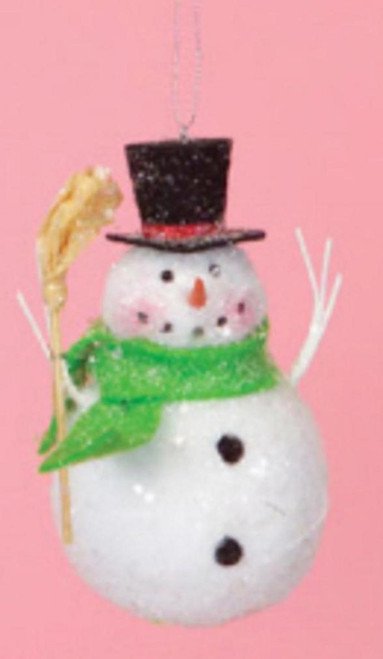"5"" Cupcake Heaven Snowman with Broom and Green Scarf Christmas Ornament - 16190294"