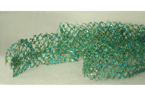 5' Sugared Fruit Turquoise Glittered & Wired Mesh Unlit Net Christmas Garland - 11233859