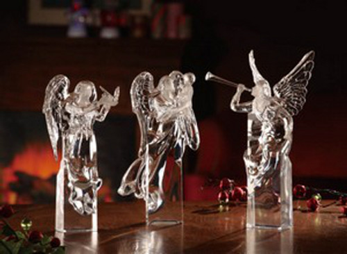 "Pack of 3 Icy Crystal Decorative Religious Christmas Angel Figurines 10"" - 31002400"