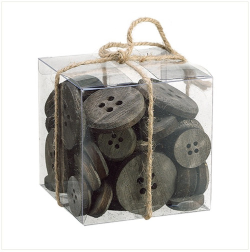 "4"" Country Cabin Assorted Rusted Gray and Brown Wooden Buttons in Decorative Clear Box - 31742368"