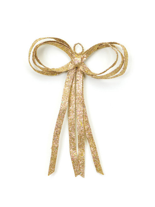 """16"""" Christmas Brites Glitter Drenched Gold Bow Decoration - 17103536"""